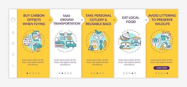Modelo de vetor de integração de dicas de turismo sustentável. site móvel responsivo com ícones. página da web com telas de 5 etapas. compre compensações de carbono ao voar o conceito de cores com ilustrações lineares