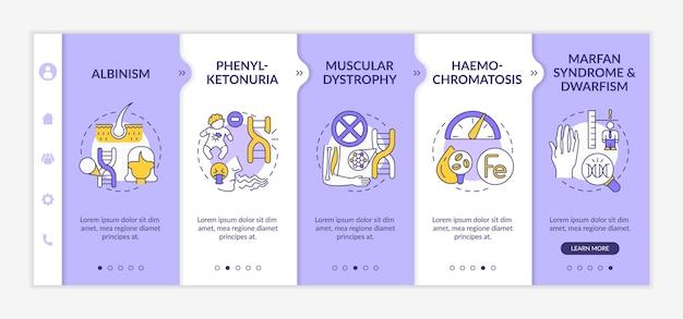 Modelo de vetor de integração de diferentes doenças genéticas. site móvel responsivo com ícones. página da web com telas de 5 etapas. conceito de cores de saúde com ilustrações lineares