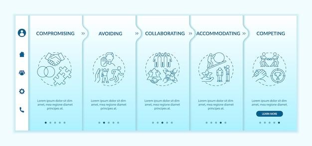 Modelo de vetor de integração de estratégias de resolução de conflitos. site móvel responsivo com ícones. página da web com telas de 5 etapas. conceito de comunicação de cores com ilustrações lineares