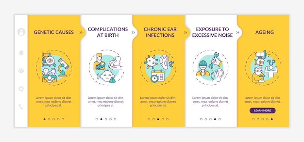 Modelo de vetor de integração de fatores de perda auditiva. site móvel responsivo com ícones. página da web com telas de 5 etapas. causas genéticas, conceito de cores de infecções crônicas com ilustrações lineares