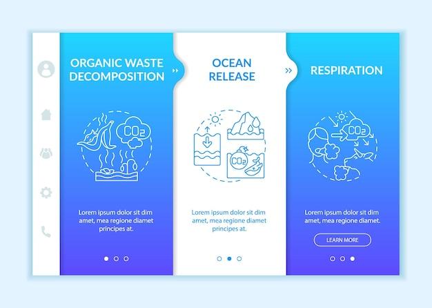 Modelo de vetor de integração de fontes naturais de dióxido de carbono. site móvel responsivo com ícones. passo a passo da página da web em telas de 3 etapas. respiração, conceito de cor de liberação do oceano com ilustrações lineares