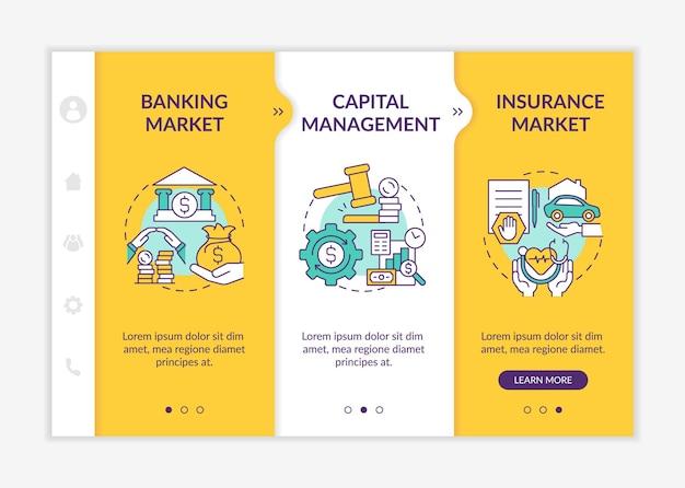 Modelo de vetor de integração de legislação financeira. site móvel responsivo com ícones. passo a passo da página da web em telas de 3 etapas. conceito de cor de gerenciamento de capital com ilustrações lineares