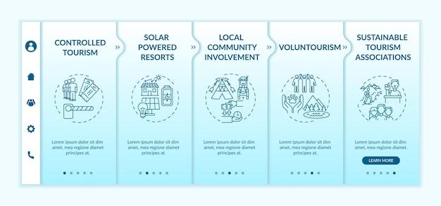 Modelo de vetor de integração de melhores práticas de turismo sustentável. site móvel responsivo com ícones. página da web com telas de 5 etapas. conceito de cores de resorts movidos a energia solar com ilustrações lineares