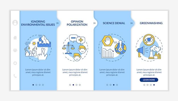 Modelo de vetor de integração de negação de ciência. greenwashing. site móvel responsivo com ícones. passo a passo da página da web em telas de 4 etapas. conceito de cores de questões ambientais com ilustrações lineares