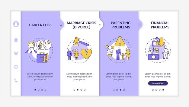 Modelo de vetor de integração de problemas de parentalidade. perda de carreira. site móvel responsivo com ícones. passo a passo da página da web em telas de 4 etapas. conceito de cor de crise de meia-idade com ilustrações lineares