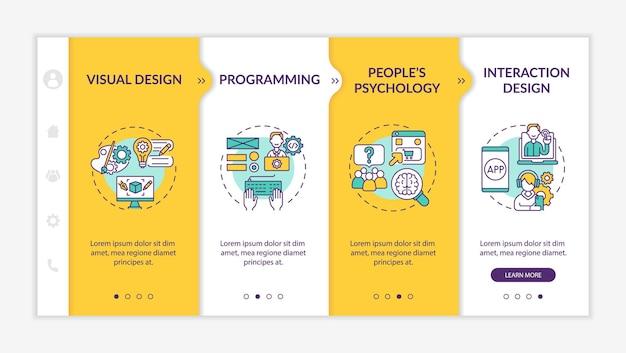 Modelo de vetor de integração de processo de design ux. site móvel responsivo com ícones. passo a passo da página da web em telas de 4 etapas. psicologia de pessoas. conceito de programação de cores com ilustrações lineares
