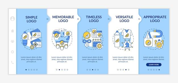Modelo de vetor de integração de regras básicas de design de logotipo. site móvel responsivo com ícones. página da web com telas de 5 etapas. simplicidade e versatilidade no conceito de cores com ilustrações lineares