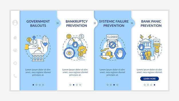 Modelo de vetor de integração de regulamento bancário. site móvel responsivo com ícones. passo a passo da página da web em telas de 4 etapas. conceito de cor de apoio financeiro do governo com ilustrações lineares