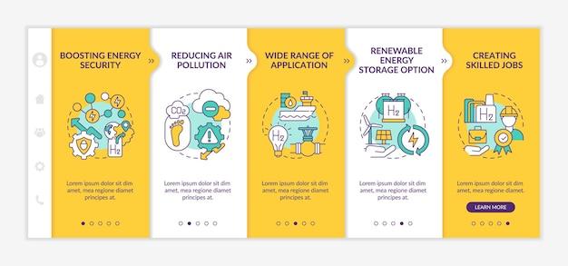 Modelo de vetor de integração de revolução de tecnologia de hidrogênio. site móvel responsivo com ícones. página da web com telas de 5 etapas. conceito de cor de opção de armazenamento de energia renovável com ilustrações lineares
