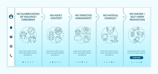 Modelo de vetor de integração de segurança de conversa de mídia social. site móvel responsivo com ícones. página da web com telas de 5 etapas. nenhum conceito de cor de promoção de suicídio com ilustrações lineares