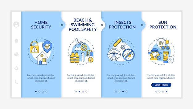 Modelo de vetor de integração de segurança de férias de verão. site móvel responsivo com ícones. passo a passo da página da web em telas de 4 etapas. praia, conceito de cor de precaução de piscina com ilustrações lineares