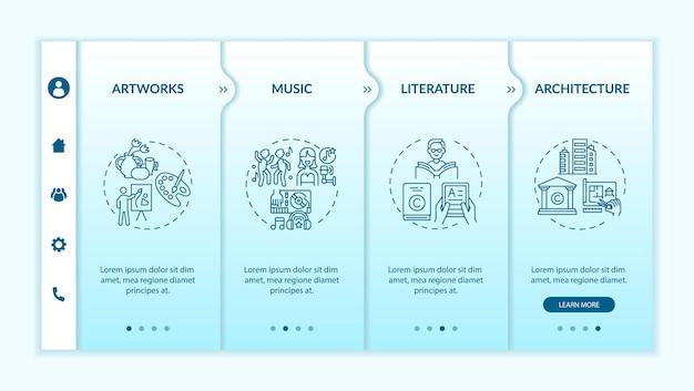 Modelo de vetor de integração de tipos de obras originais. site móvel responsivo com ícones. passo a passo da página da web em telas de 4 etapas. registros musicais, conceito de cor de arquitetura com ilustrações lineares