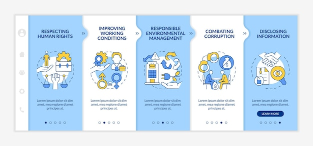 Modelo de vetor de integração de vetores de questões de responsabilidade social corporativa. site móvel responsivo com ícones. página da web com telas de 5 etapas. conceito de cor com ilustrações lineares