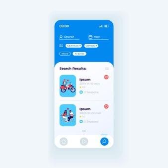 Modelo de vetor de interface de smartphone de aplicativo de hospedagem de vídeo. layout de design de luz de página do aplicativo móvel. tela do menu de navegação de conteúdo. ui plana para aplicação. transmita os resultados da pesquisa na tela do telefone.