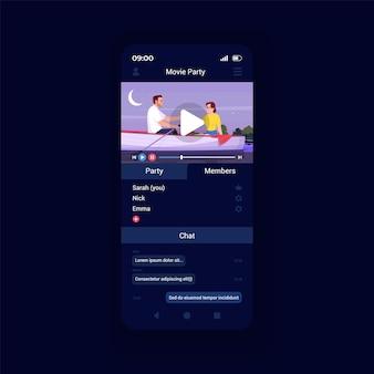 Modelo de vetor de interface de smartphone de aplicativo de plataforma de streaming de vídeo. layout de design da página do aplicativo móvel. grupo, filmes de festa assistindo a tela de serviço. ui plana para aplicação. display do telefone