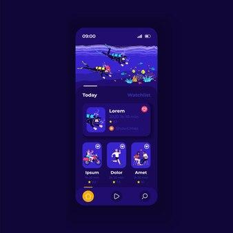 Modelo de vetor de interface de smartphone de aplicativo de streaming de vídeo. layout de design escuro da página do aplicativo móvel. tela do canal de vloggers. ui plana para aplicação. conteúdo divertido na tela do telefone
