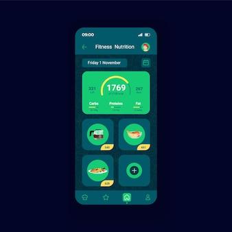 Modelo de vetor de interface de smartphone de nutrição leve de fitness