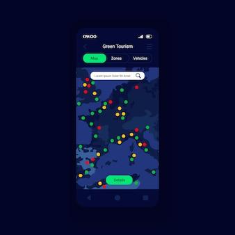 Modelo de vetor de interface de smartphone de representação de zonas verdes
