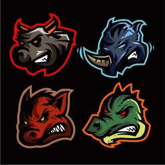 Modelo de vetor de jogo 4 mascote conjunto de logotipo
