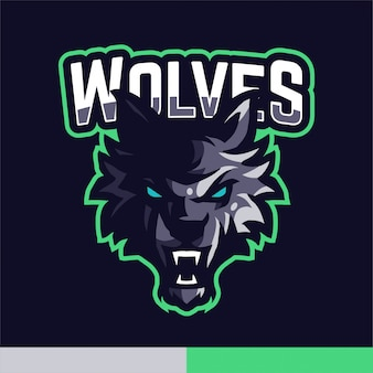 Modelo de vetor de jogo de logotipo de mascote de lobos