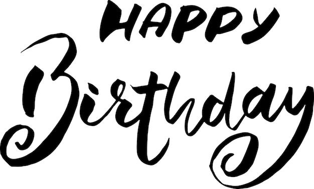 Modelo de vetor de letras de escova de feliz aniversário para cartão de felicitações