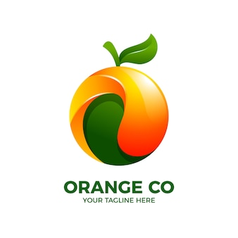 Modelo de vetor de logotipo 3d orange fresh fruit