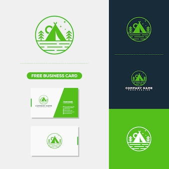 Modelo de vetor de logotipo de acampamento de montanha