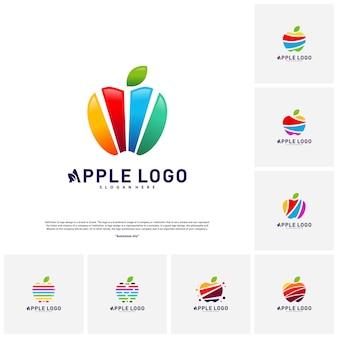 Modelo de vetor de logotipo de apple frutas