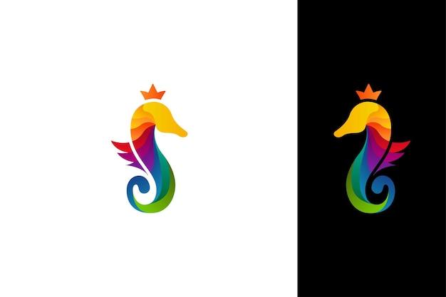 Modelo de vetor de logotipo de cavalo-marinho gradiente colorido