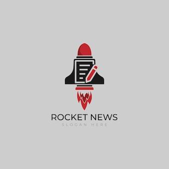 Modelo de vetor de logotipo de foguete de jornal rápido