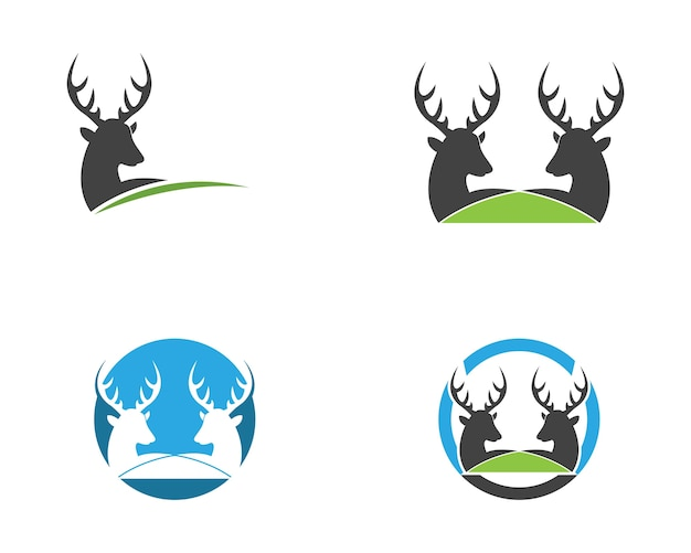 Modelo de vetor de logotipo de ícone de cabeça de veado