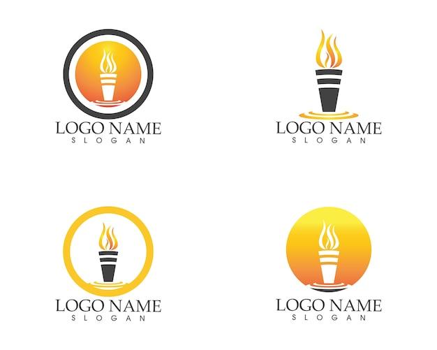 Modelo de vetor de logotipo de ícone de fogo de tocha