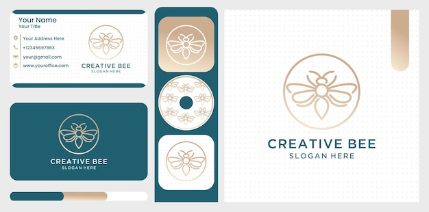 Modelo de vetor de logotipo de ideia criativa de abelha