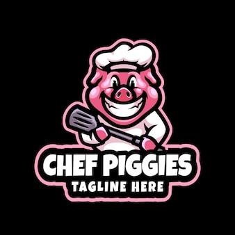 Modelo de vetor de logotipo de mascote de chef porco