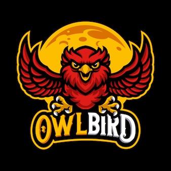 Modelo de vetor de logotipo de mascote de coruja