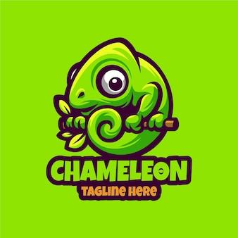 Modelo de vetor de logotipo de mascote de desenho animado camaleão