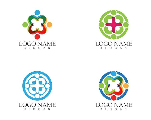 Modelo de vetor de logotipo de pessoas da comunidade