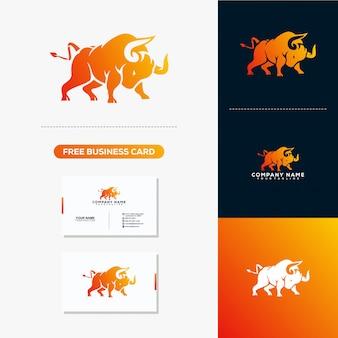 Modelo de vetor de logotipo e cartão de visita de touro