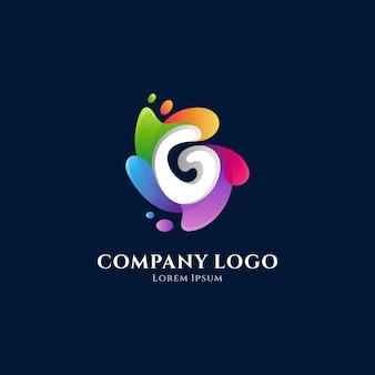 Modelo de vetor de logotipo gradiente colorido letra g