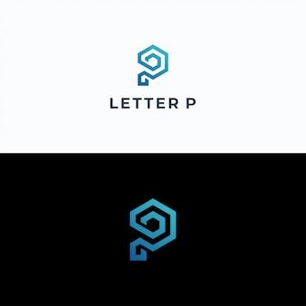 Modelo de vetor de logotipo letra p