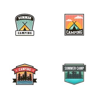 Modelo de vetor de logotipo vintage acampamento de verão