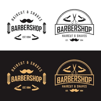 Modelo de vetor de logotipo vintage de barbearia
