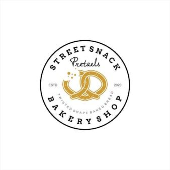 Modelo de vetor de padaria design de logotipo pretzels