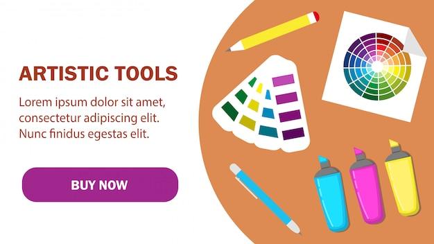Modelo de vetor de página da web de ferramentas artísticas