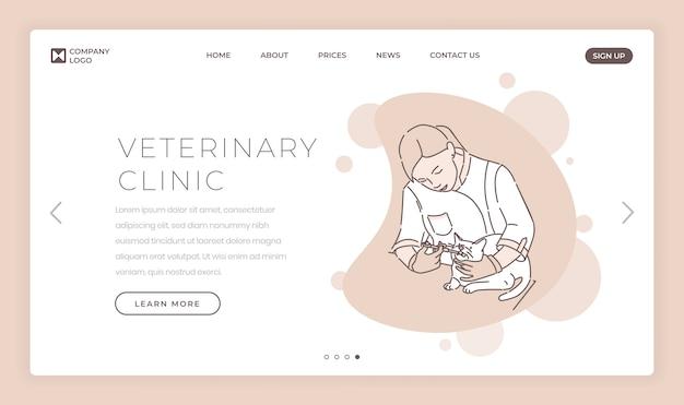 Modelo de vetor de página de aterrissagem clínica veterinária. ideia da relação da homepage do web site do hospital de animais com o doutor que trata ilustrações do gato. serviços médicos para o conceito de desenho de página da web de animais de estimação