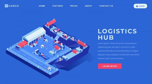 Modelo de vetor de página de aterrissagem de logística hub. ideia da relação do homepage do web site da indústria do frete de mar com ilustrações isométricas.