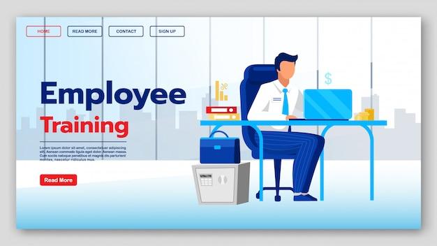 Modelo de vetor de página de aterrissagem de treinamento para funcionários. ideia de interface do site de cursos educacionais com ilustrações planas. layout da página inicial de classes de negócios.