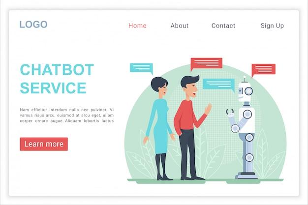 Modelo de vetor de página de destino da web de serviço chatbot