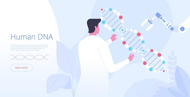Modelo de vetor de página de destino de dna humano. ideia de interface de homepage de site de engenharia genética com ilustrações planas. inovação em medicina. conceito de desenho de banner web de pesquisa de estrutura de molécula de corpo