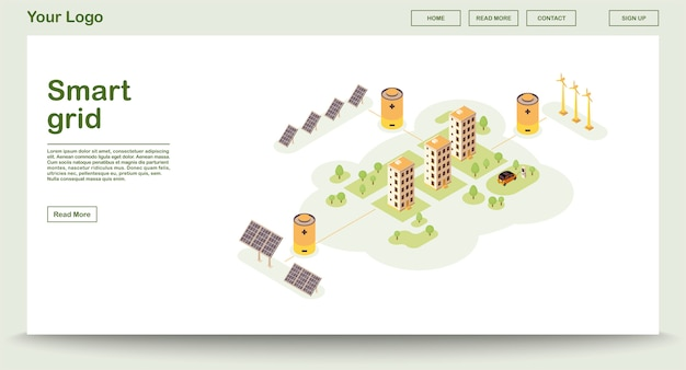 Modelo de vetor de página de energia eco com landing page isométrica